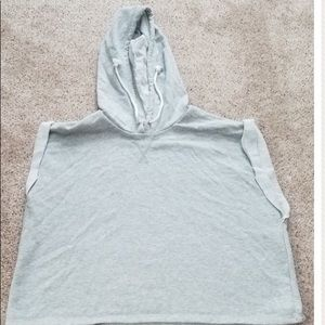 a cropped sleeveless hoodie